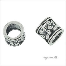 Sterling Silver Flower Tube Charm Spacer Bead Fit European Bracelet #51952