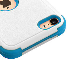 iPod Touch 5th & 6th Gen - HARD & SOFT RUBBER ARMOR CASE TEAL BLUE WHITE HYBRID