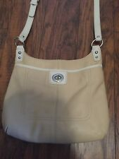 Coach Penelope Pebbled Leather Hippie F19265 Crossbody Shoulder Bag Putty/White