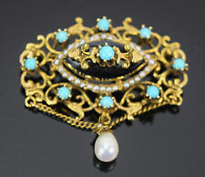 Vintage Victorian Style 14k Solid Gold Brooch Pendant Turquoise Onyx Teardrop
