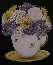 Carol Wilson Birthday Card For Her Glitter Embossed Bumble Bee Tea Cup Daisy