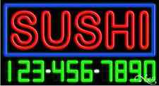 """NEW """"SUSHI"""" W/YOUR PHONE NUMBER 37x20 REAL NEON SIGN W/CUSTOM OPTIONS 15034"""