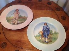 Collectable Pr Hand Painted Plates Of Boy & Girl Figures By Lecot China, USA