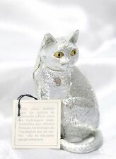 Christofle LUMIERE D'argent Silver-plate pierced animal figurine CAT Kitten