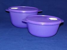 Tupperware Crystal Wave Bowl set/2 6.5 and 8.25 cup in purple