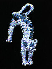 CLEAR BLACK AB RHINESTONE HALLOWEEN SCARY STRETCHING CAT KITTEN PIN BROOCH 2.5""