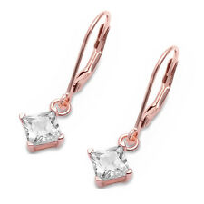 Solitaire Earrings 3mm-8mm Princess Cut CZ Two Tone Gold Plated Sterling Silver