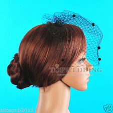 Modern Black Netting Fascinator Wedding Bridal Blusher Birdcage Veil Headpiece
