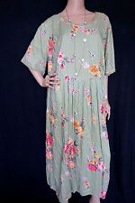 VINTAGE 90s GRUNGE Lace Draped Floral Sage Green Pleated Hippie Boho DRESS 24W