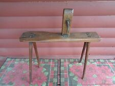 Antique Primitive 1800's Leather Workers Bench with Vice Harness