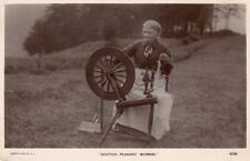 Spinning Wheel Scotch Scottish Peasant Woman unused RP old pc Rapid