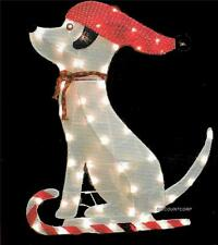 "36"" GLISTENING TINSEL FABRIC DOG LIGHTED OUTDOOR CHRISTMAS DECORATION NEW"