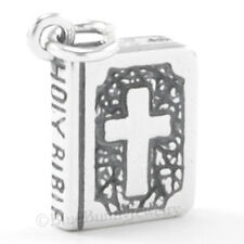3D HOLY BIBLE Pray Cross Spirit Dove detailed Charm Pendant 925 Sterling Silver