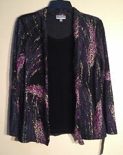 NEW JM Collection Petite Printed Layered Top 82829 Feather Strokes PM