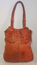 LUCKY BRAND Copper Ruffled Distressed Leather Trim Handbag Purse