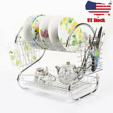 Chrome 2 Tiers Dish Drying Rack Drainer Dryer Tray Kitchen RV Plate Cup Storage