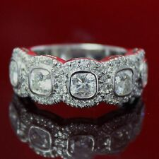 2.75 CT FOREVER BRILLIANT MOISSANITE CUSHION HALO MICRO PAVE SEMI ETERNITY RING