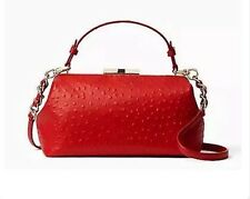 $528 NWT KATE SPADE Victoria Falls Madeline ostrich embossed leather Bag Red
