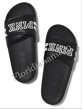 New Victorias Secret PINK Black Slides Slippers Flip Flops Sandal Big M 7-8 NWT