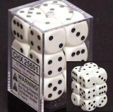 Opaque 16mm d6 White w/Black Dice Block 12 pipped dice CHX 25601
