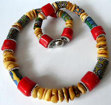 Antik Millefiori Murano trade beads,  butterscotch Bernsteine, Koralle