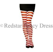 LADIES STRIPED RED AND WHITE TIGHTS CHRISTMAS XMAS PANTO FANCY DRESS ACCESSORY