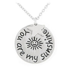 D33 You Are My Sunshine Star Silver Medallion Charm Necklace