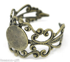 20 Bronze Tone Adjustable Filigree Rings 18.3mm US 8