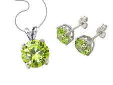 S925 Sterling Silver Solitaire CZ Crystal Birthstone Earrings Necklace Chain Set