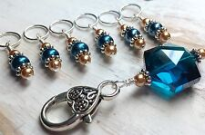 Handmade SNAG FREE Stitch Markers & Aqua Blue Holder- Knitting Tools- Gifts