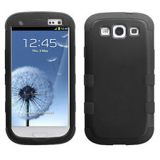 For Samsung Galaxy S III 3 Rubber IMPACT TUFF HYBRID Case Phone Cover Black