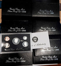 1992 through 1998 set of 7 SILVER PROOF SETS COMPLETE RUN ALL ORIGINAL BOX COA