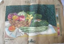 FABULOUS VINTAGE PRINTED TAPESTRY CANVAS VEGETABLES FRUIT STILL LIFE NO YARNS