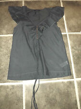 LADIES FRENCH CONNECTION LIKE SILK ? GREY RUFFLE COLLAR BLOUSE TOP UK 6 EUR 34