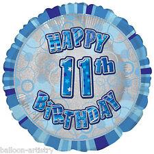"18"" Happy 11th Birthday Party BLUE Glitz Prismatic Sparkle Round Foil Balloon"