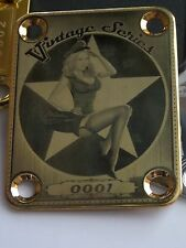 Gold Military Pin Up Engraved Guitar Neck Plate fits Fender tele/strat/squier