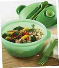 Tupperware Hot Food On-The-Go Set Bowl Microwave Spoon Fork Knife Green NEW