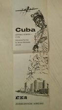 Airline Memorabilia -CSA Czech Airlines Publicity Flyer for Prague-Havana