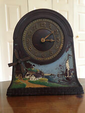 RARE Vintage Mechanical Windmill Shelf Clock With Moving Windmill AND WORKS!