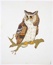 """VINTAGE OWL Needlepoint Picture Wall Hanging Handcrafted Completed 20"""" x 16"""""""