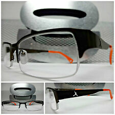 Mens SLEEK CONTEMPORARY STYLE Clear Lens EYE GLASSES Half Bronze & Orange Frame