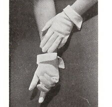 Vintage Visage 1940s sewing pattern-how to make pique cotton gloves-paper pieces