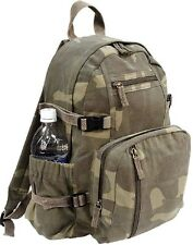 WOODLAND CAMO Vintage Military Compact Backpack Daypack Travel Book bag 9762