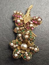Vintage Miriam Haskell Twig Leaf Flower Costume Jewelry Brooch