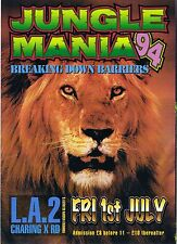 $ JUNGLE MANIA Rave Flyer Flyers A5 1/7/94 LA2 Charing X London