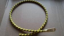 1920s 1930s vintage jaune/noir en coton tressé spark plug lead terminal 610mm
