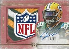 TY MONTGOMERY 2015 TOPPS DEFINITIVE RED NFL LOGO SHIELD PATCH AUTO RC #D 1/1