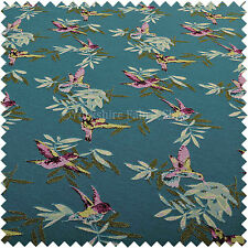 New Blue Green Kingfisher Bird Animal Pattern Fabric Chenille Upholstery Fabric