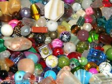 NEW 1/POUND MIXED  LOOSE BEADS LOT Multi Color Glass, Pearl, gemstone