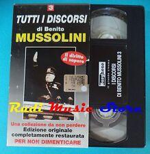 VHS film cartonata TUTTI I DISCORSI DI BENITO MUSSOLINI N. 3 storia (F92)no dvd